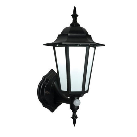Evesham 7 Watt IP44 Natural White (4500K) LED Traditional Black PIR Wall Lantern