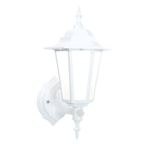 Evesham 7 Watt IP44 Natural White (4500K) LED Traditional Matt White PIR Wall Lantern