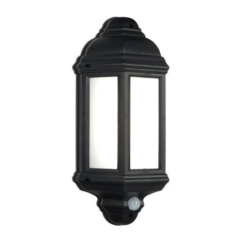 Halbury 7 Watt IP44 Natural White (4500K) LED Black PIR Half Lantern - Steel City Lighting