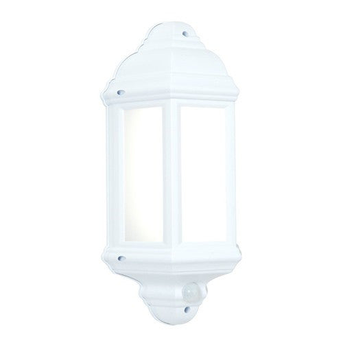 Halbury 7 Watt IP44 Natural White (4500K) LED Matt White PIR Half Lantern