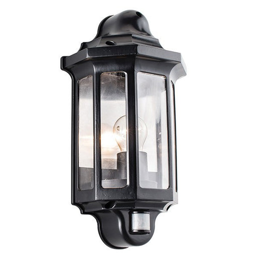 Matt Black Traditional PIR Wall Lantern - Steel City Lighting