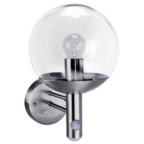 Stainless Steel IP44 PIR Wall Globe with Dusk to Dawn LED
