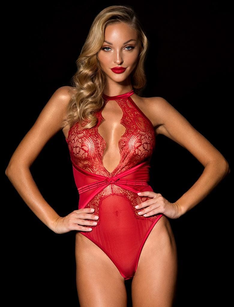 Luna Red Bodysuit - Shop Lingerie | Honey Birdette