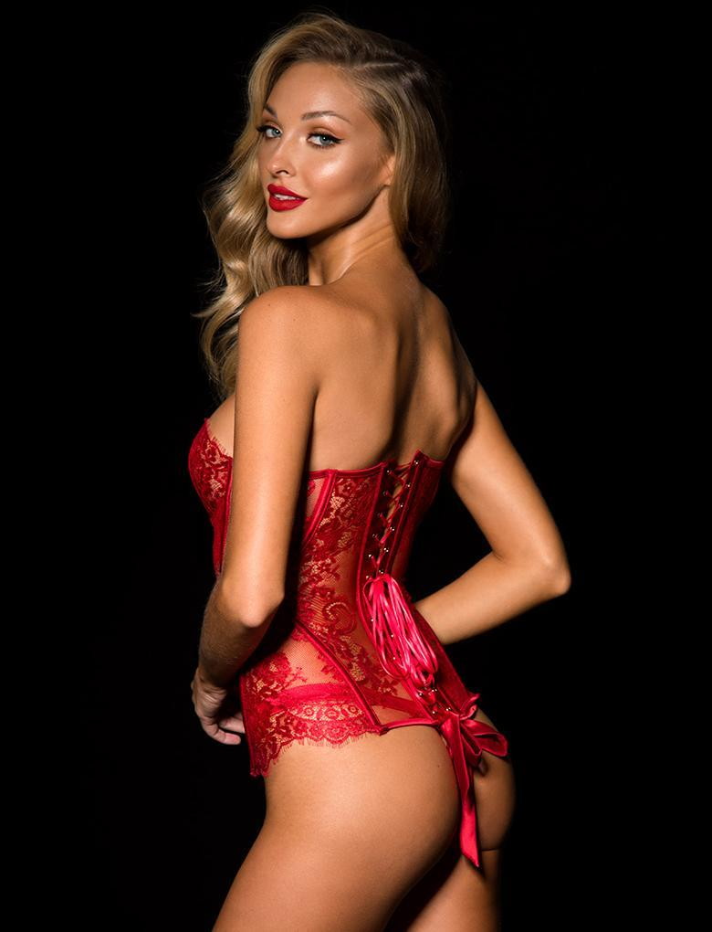 Chloe Red Lace Corset - Shop Lingerie | Honey Birdette