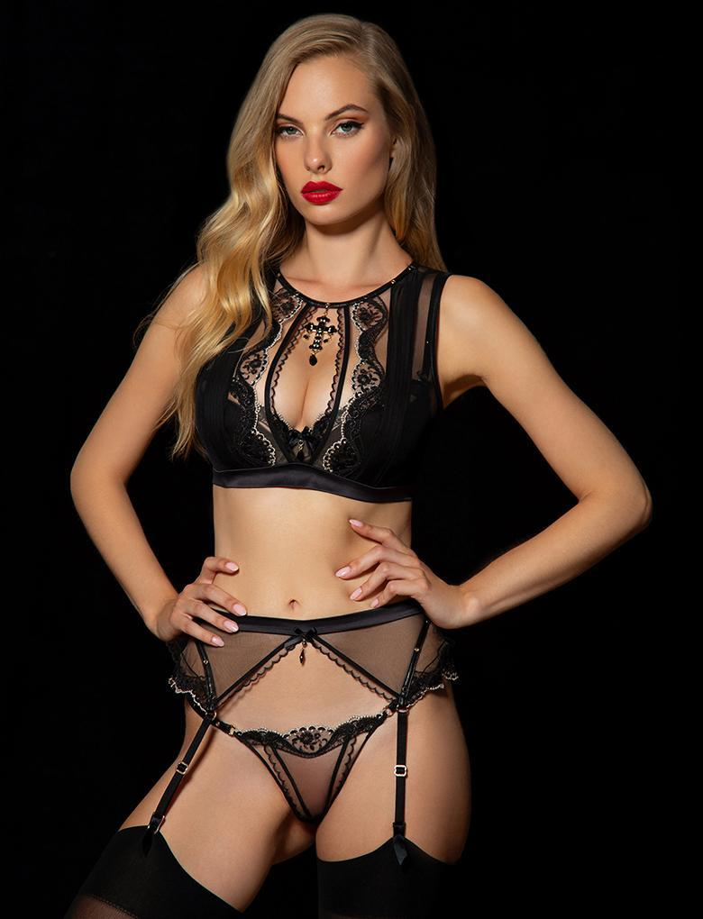 Madonna Black Thong - Shop Lingerie | Honey Birdette