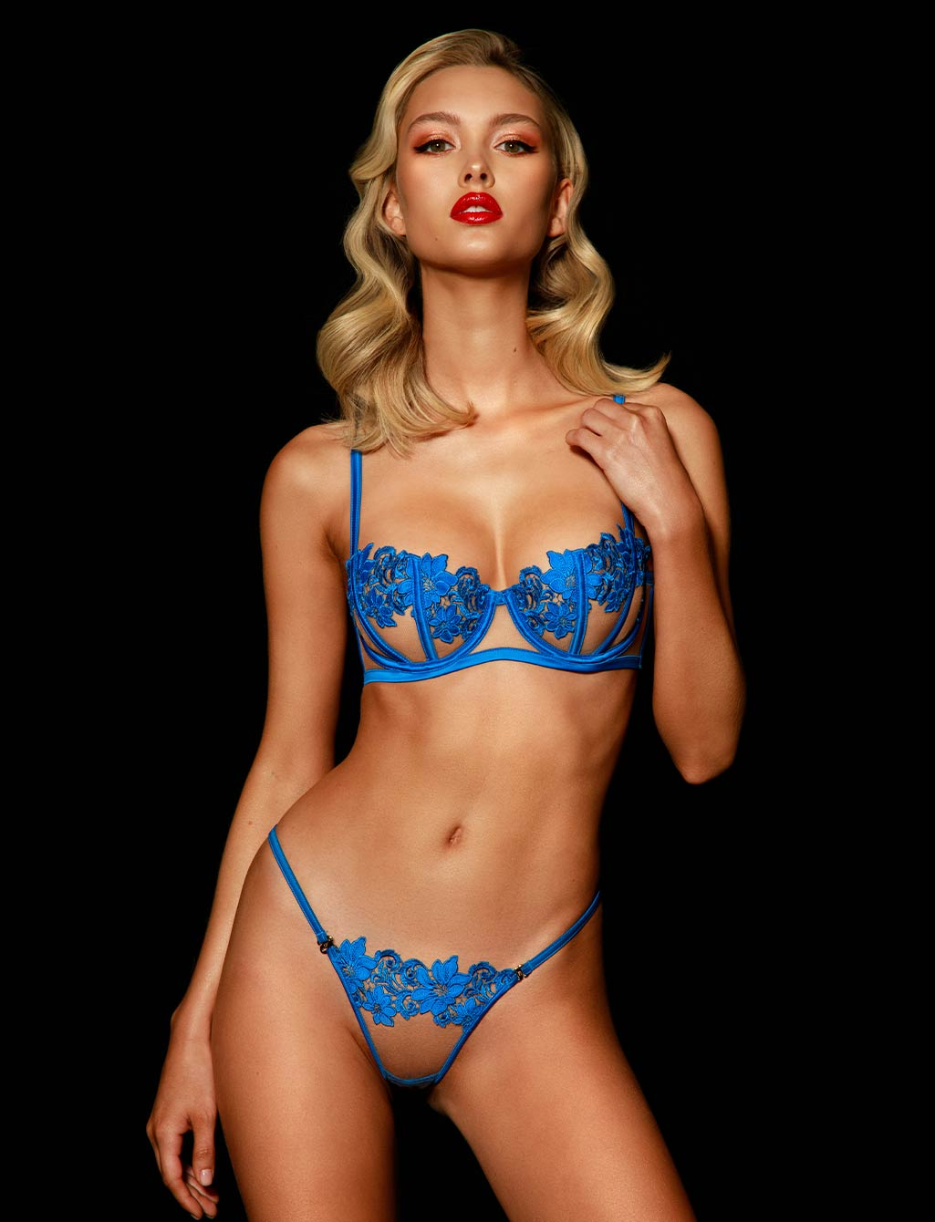 Amelie Blue Thong - Shop Thong & G Strings | Honey Birdette