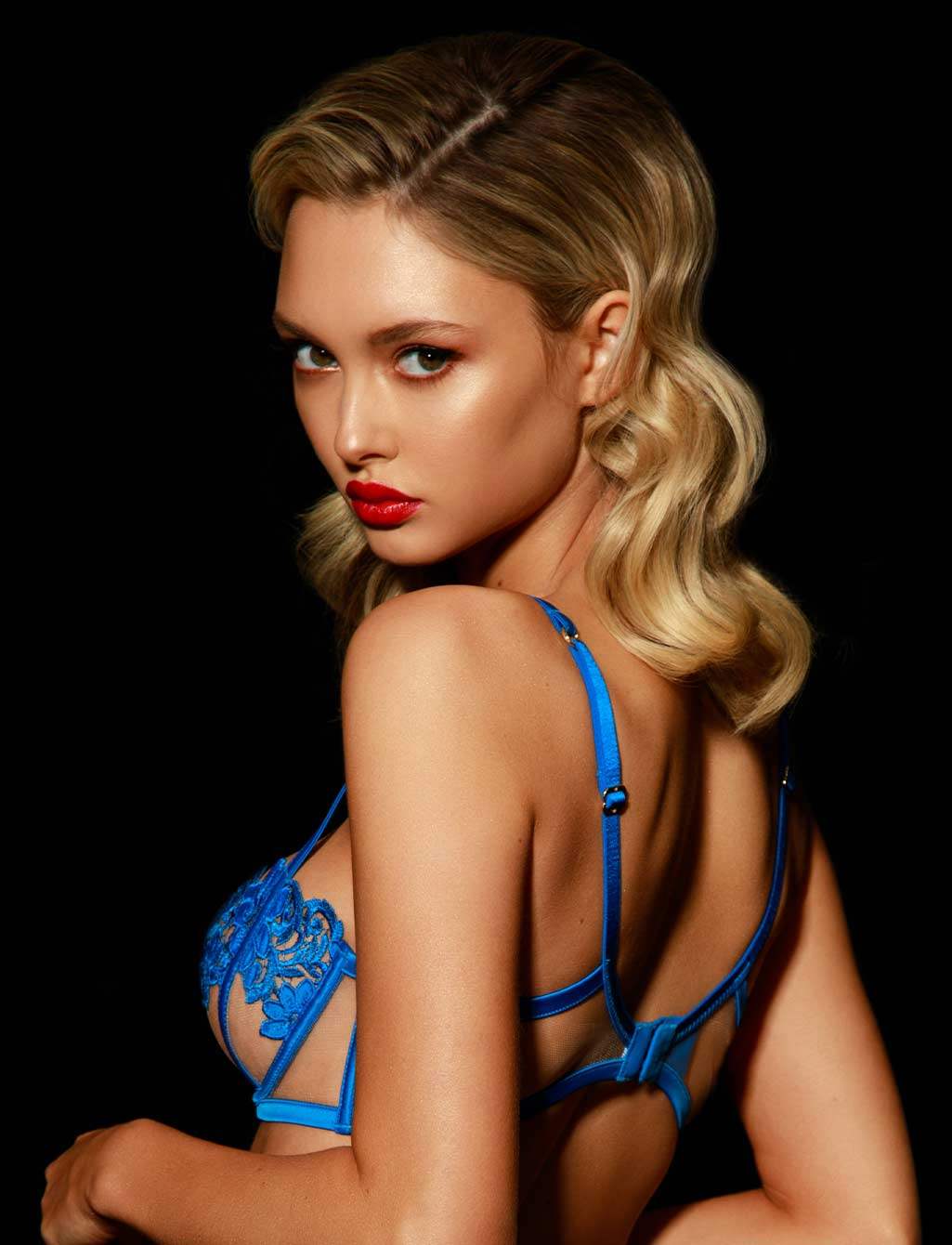 Amelie Royal Blue Underwire Bra - Shop Bras | Honey Birdette