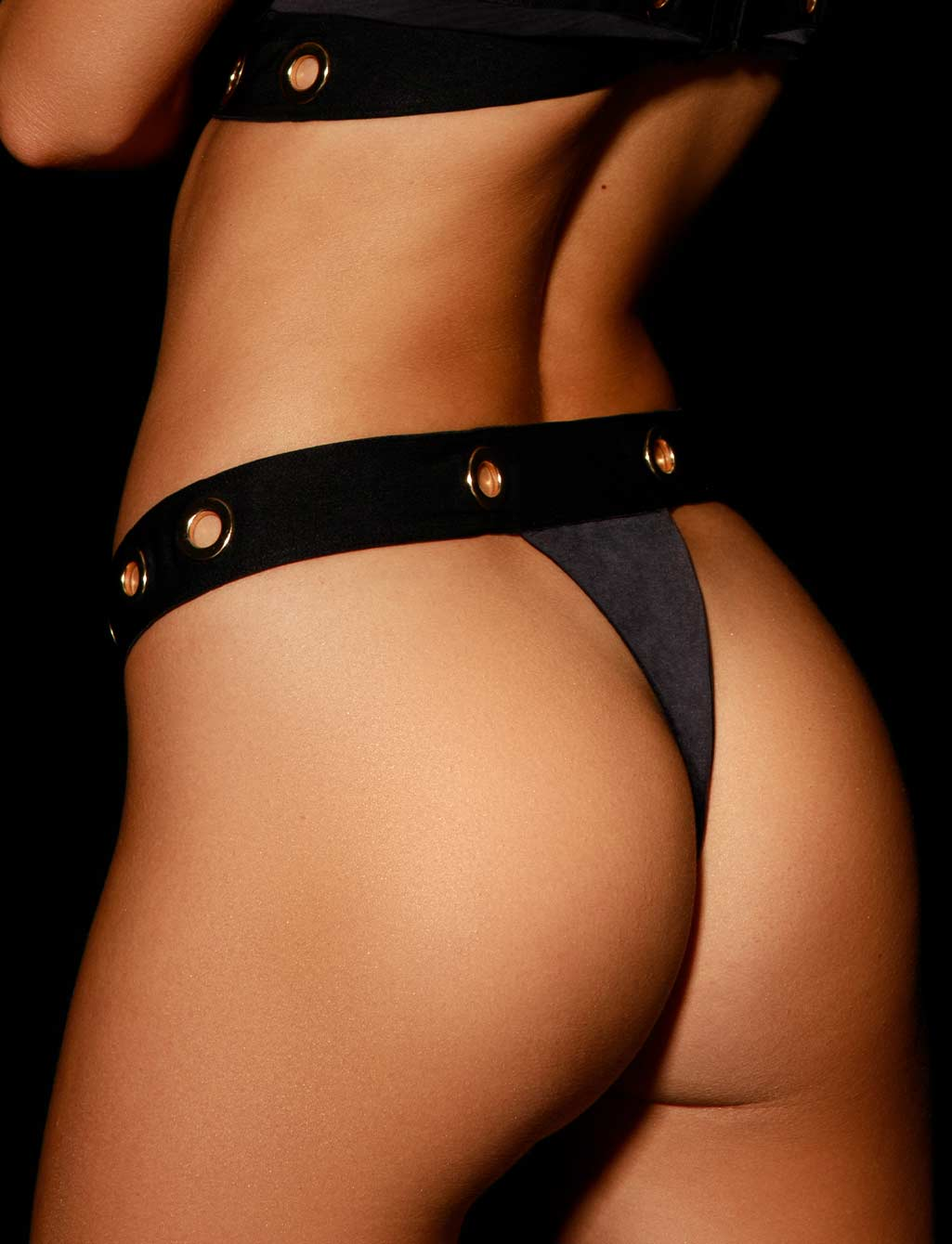 Ava Black Thong G String