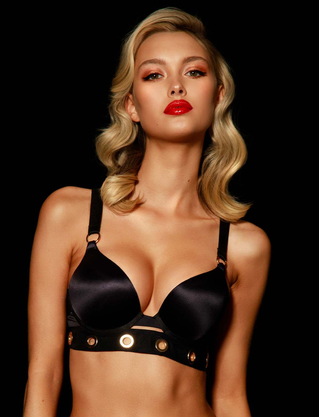 Ava Black Push Up Bra