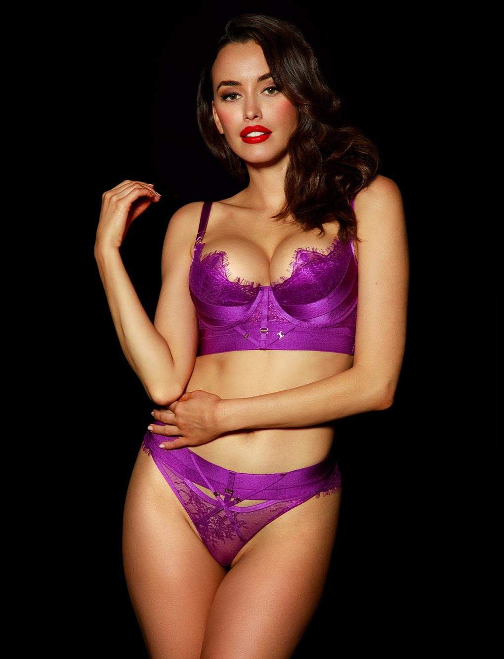 Belinda Purple Lace Thong | Shop Thongs & G Strings | Honey Birdette