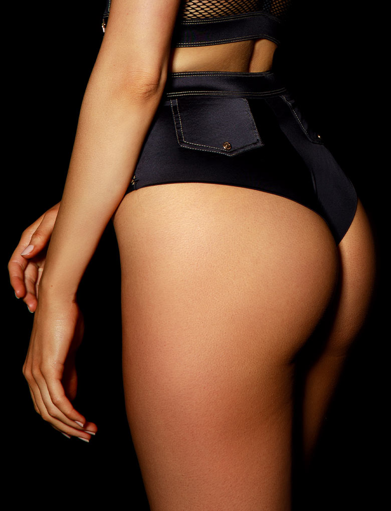 Bronnie Black Hotpant | Shop Panties | Honey Birdette