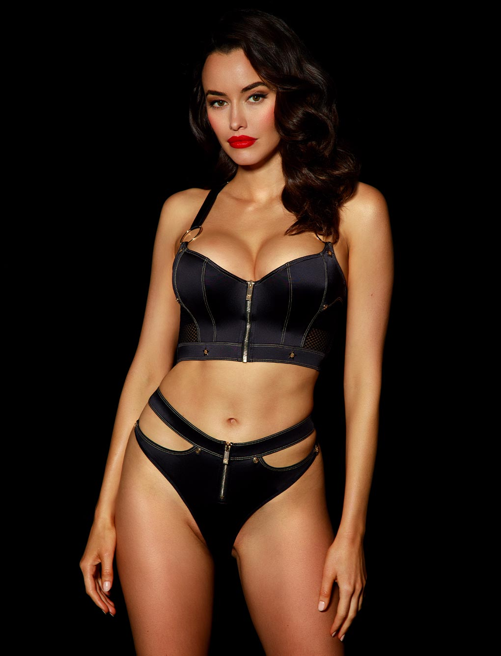 Bronnie Black Lace Lingerie Set | Shop Lingerie | Honey Birdette