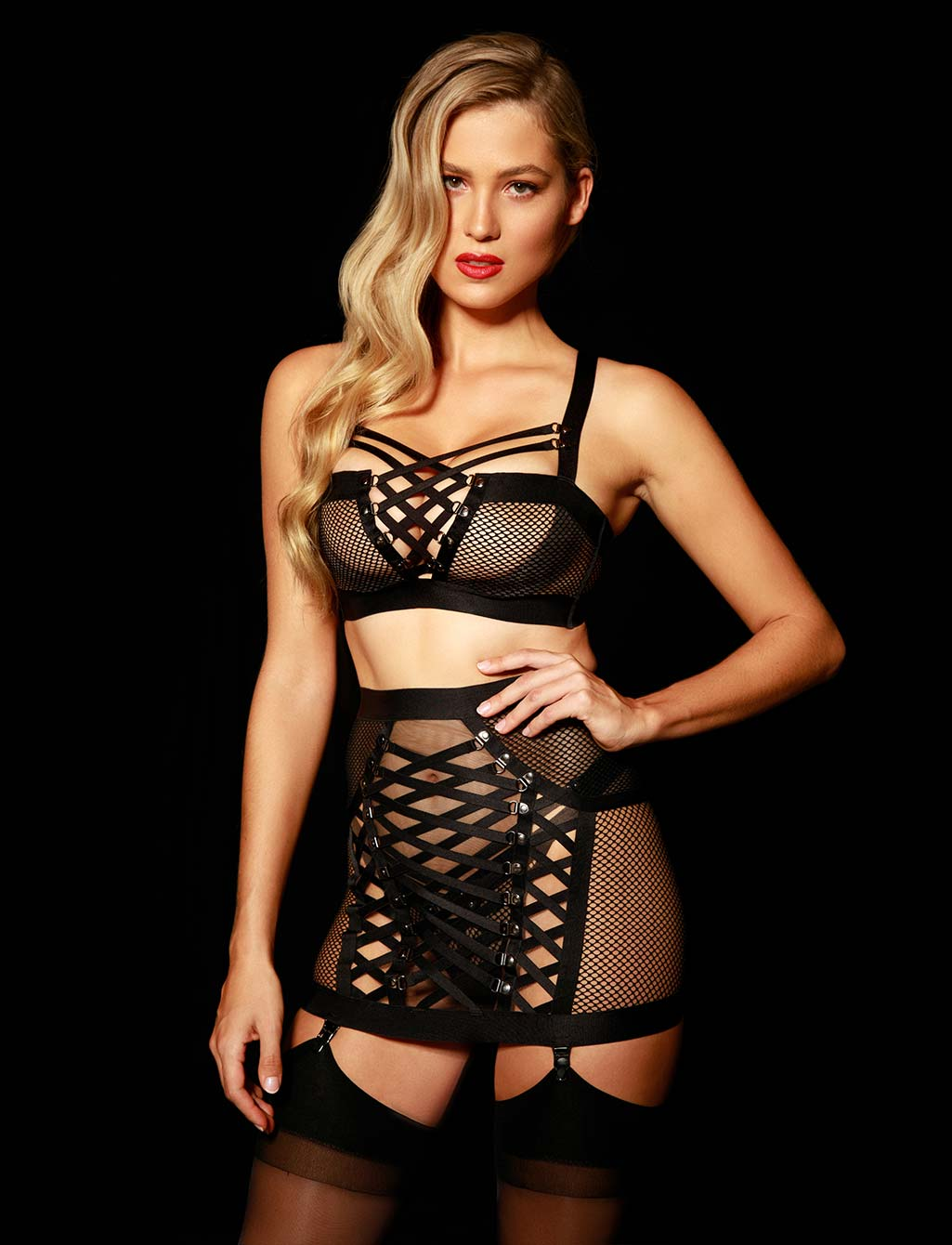 Courtney Black Garter Belt | Shop Sexy Lingerie Honey Birdette