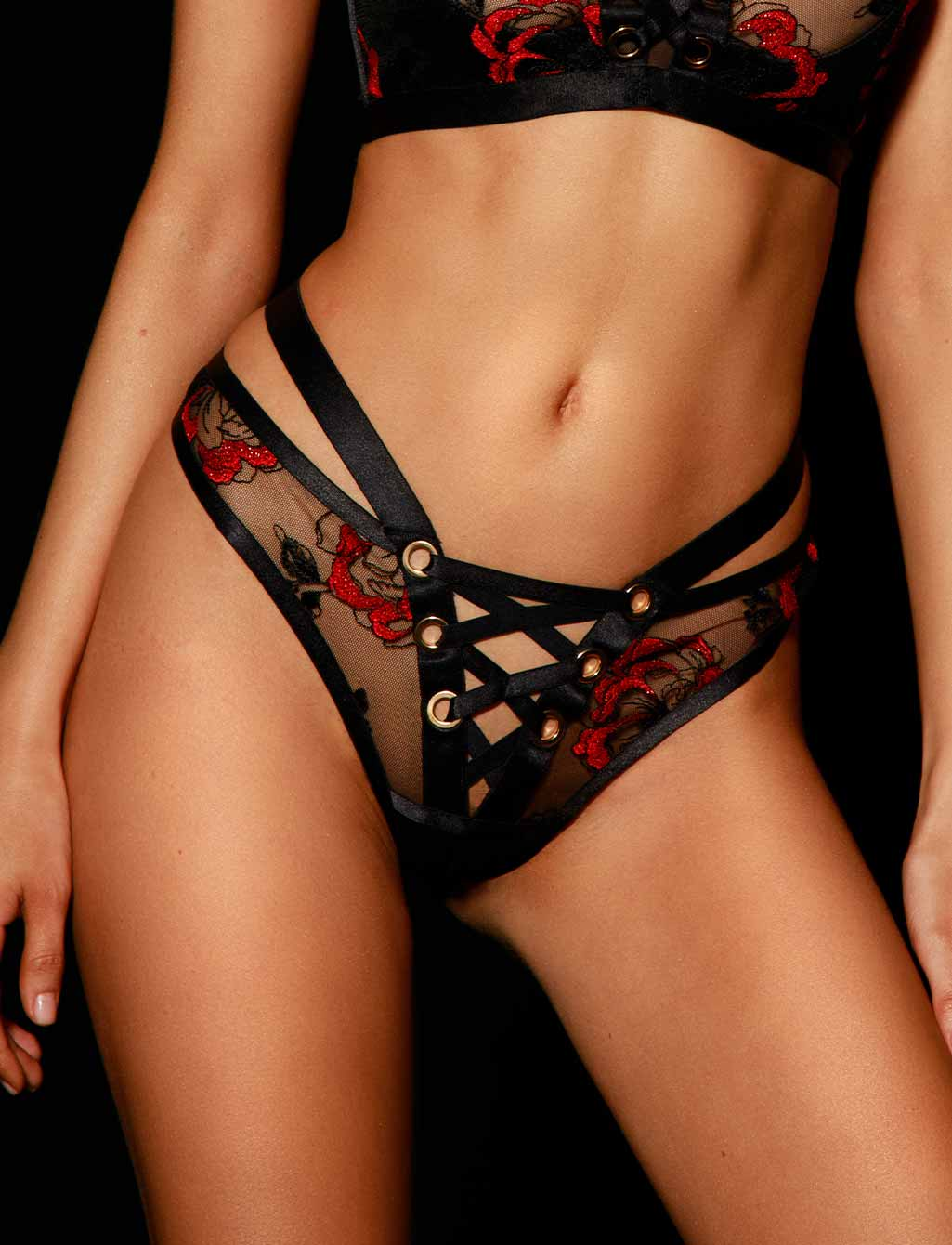 Freyah Lace Black & Red Thong G string