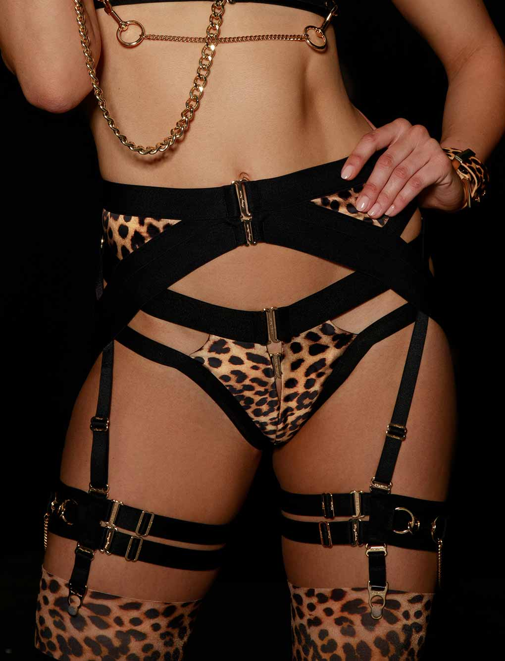 Kukuro Leopard Garter Belt | Shop Garter Belts | Honey Birdette