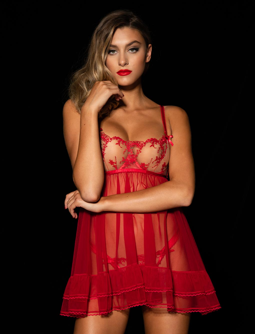 Layla Red Babydoll Set