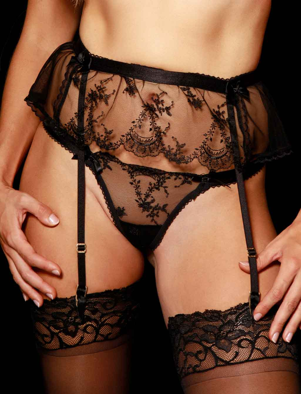Layla Black Babydoll Garter Belt | Shop  Lingerie Honey Birdette