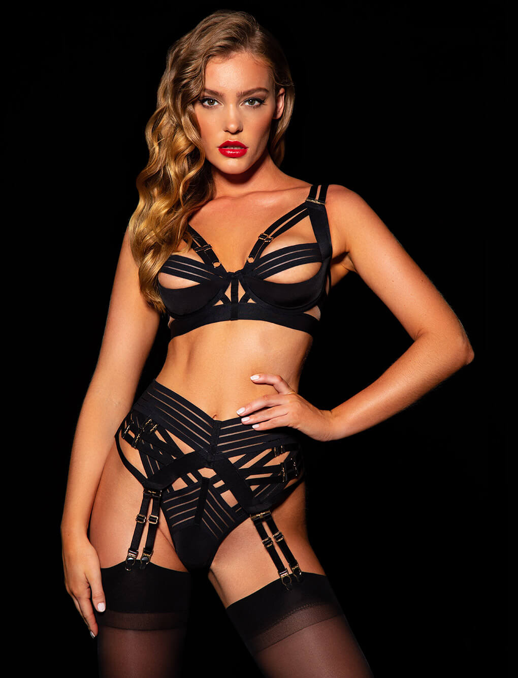Linda C Black Lingerie Set - Shop Lingerie | Honey Birdette