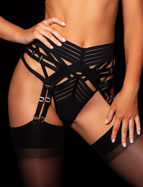 Linda C Black Garter | Shop Garter Belts | Honey Birdette