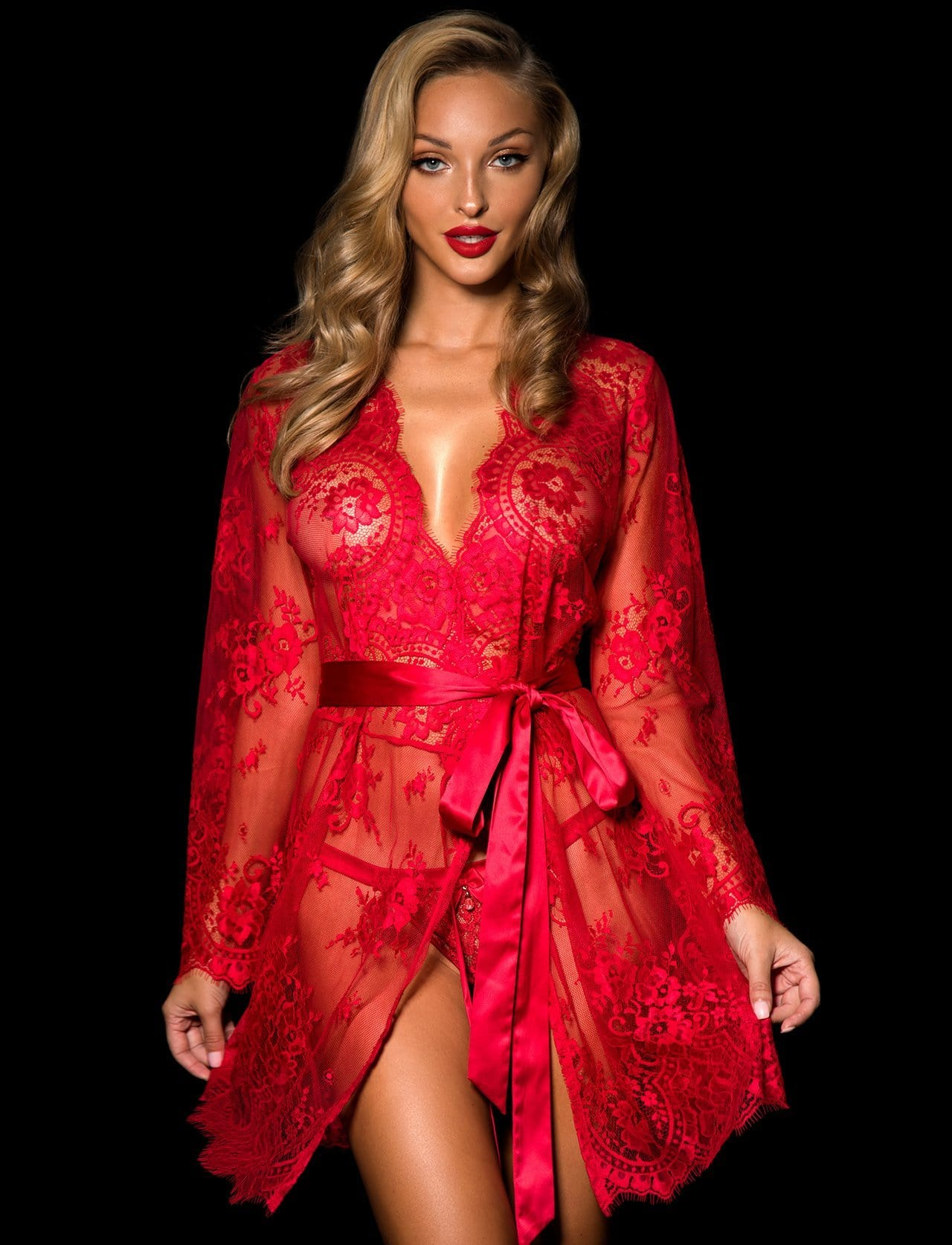 Red Love Lace Robe