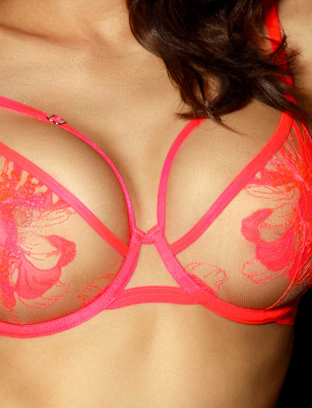 Marivie Pink Neon Underwire Bra | Shop Lace Bras | Honey Birdette