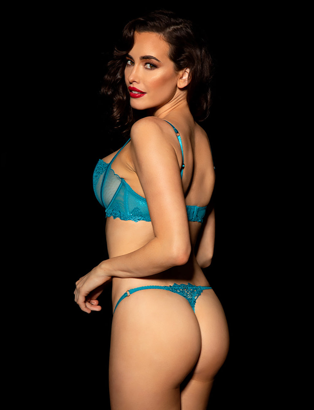 Natalie Teal Bra & Thong Set