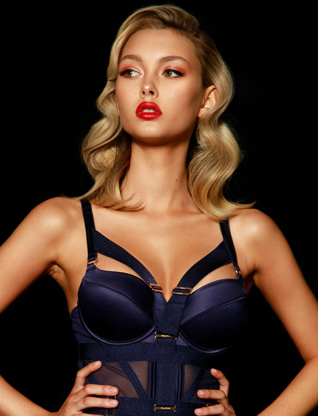 Elvis Navy Blue Bodysuit Push Up Bra
