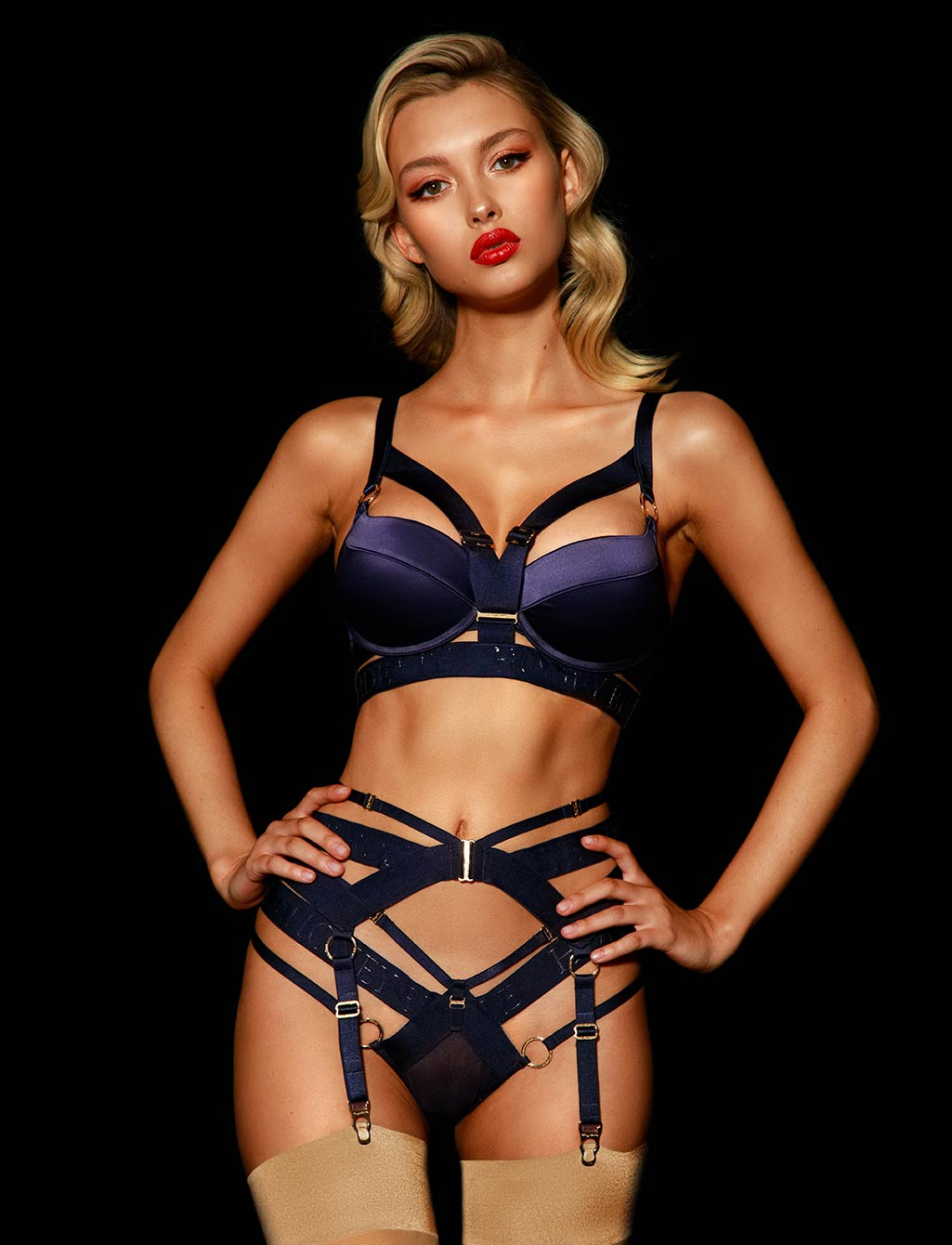 Elvis Navy Push Up Bra