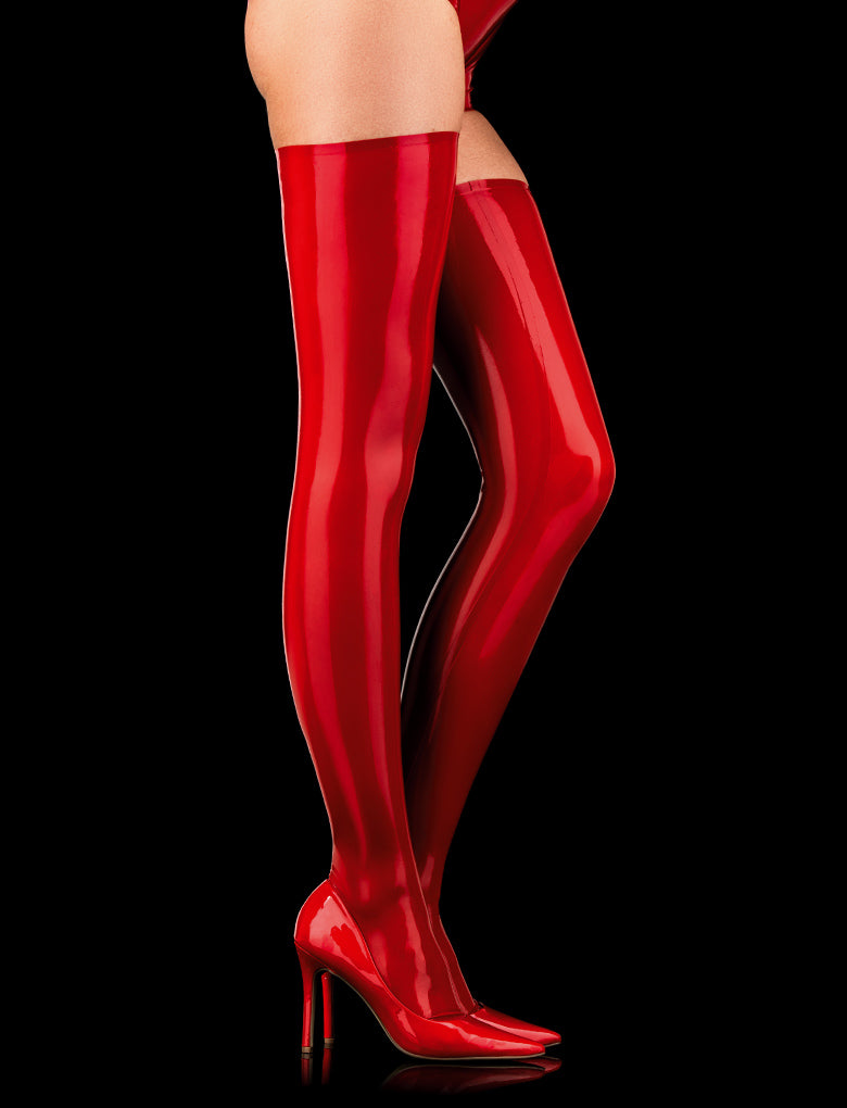 Latex Red Thigh Highs