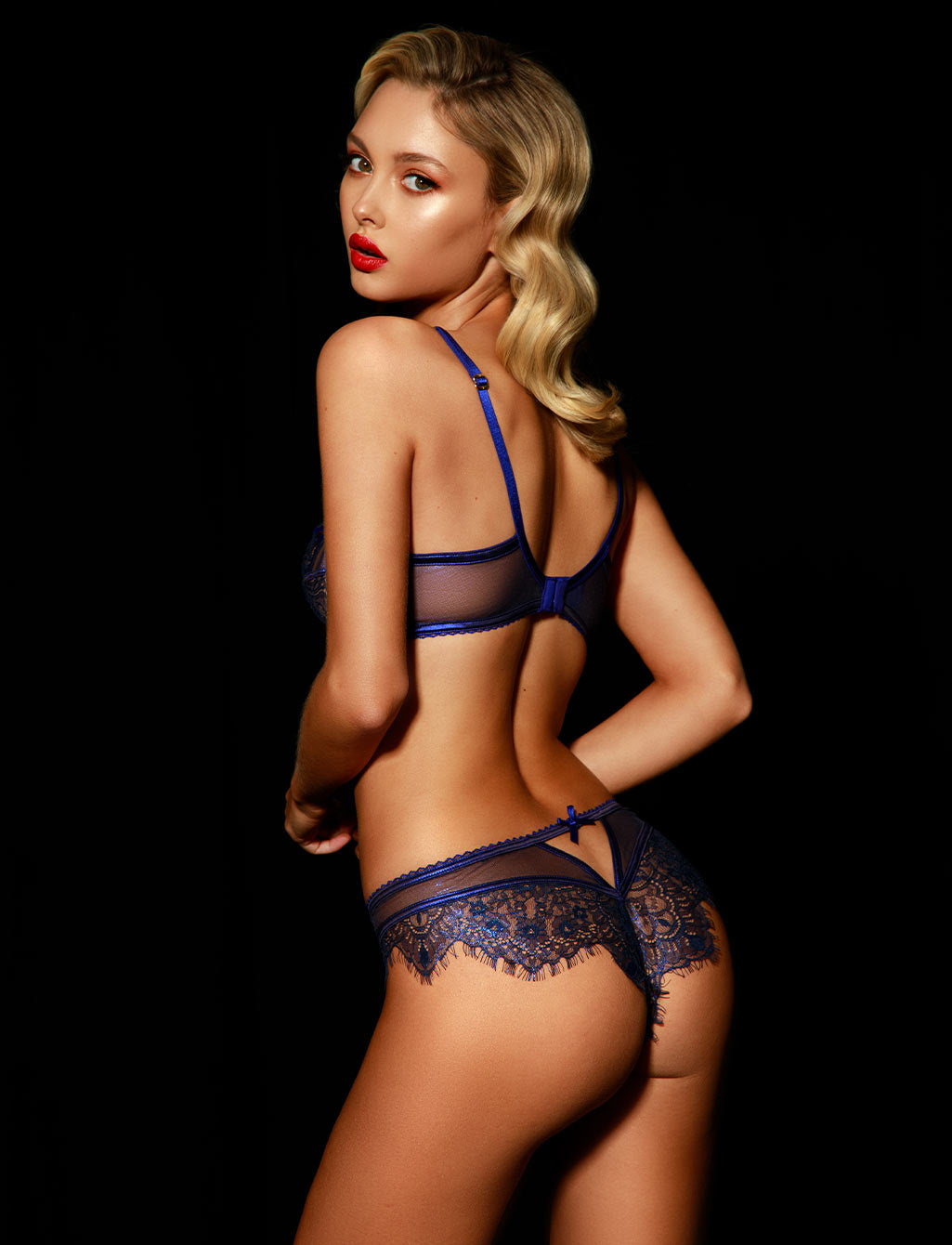Roisin Regal Blue Lace Lingerie Set - Shop Lingerie | Honey Birdette