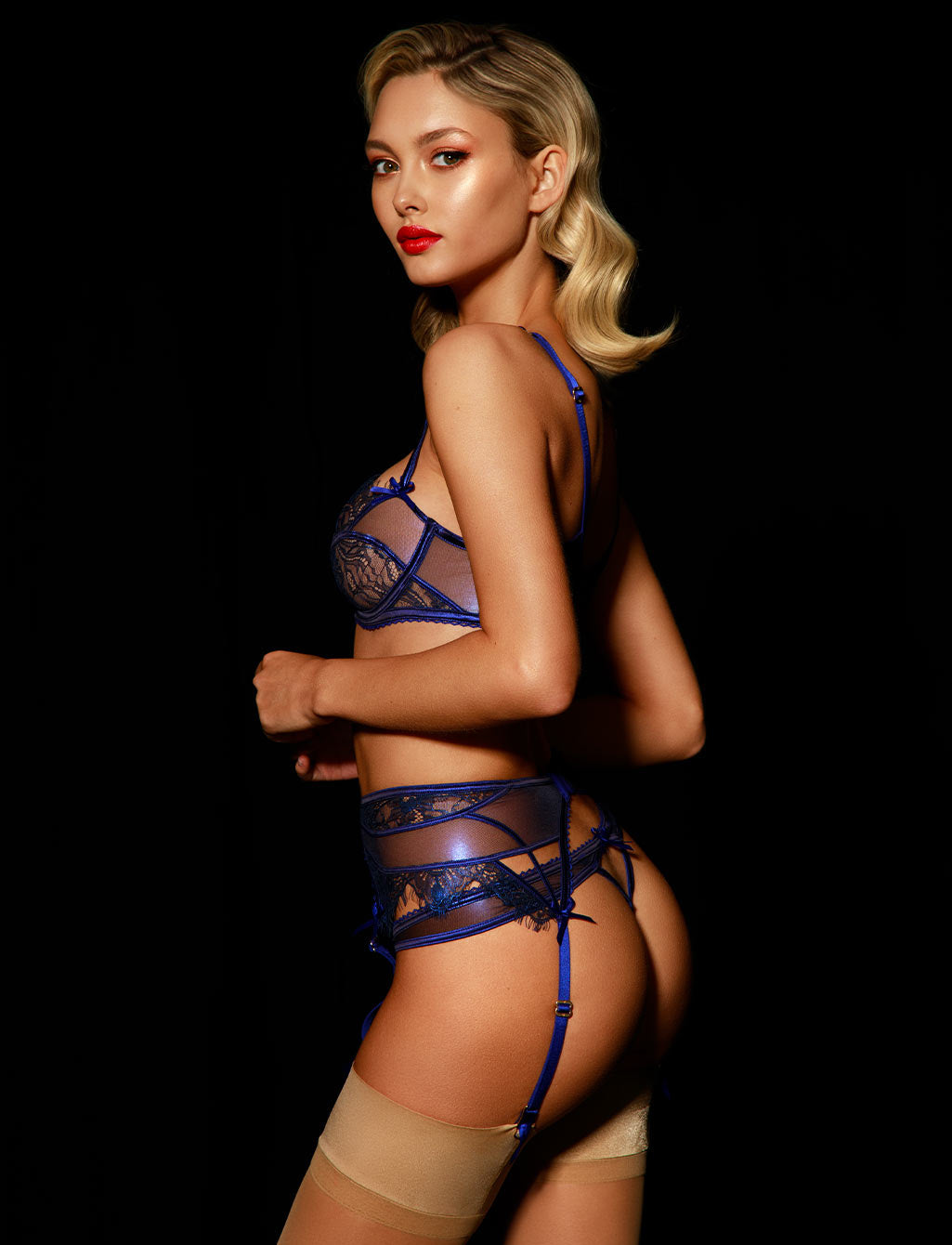 Roisin Regal Blue Lace Soft Cup Underwire Bra - Shop Lingerie | Honey Birdette