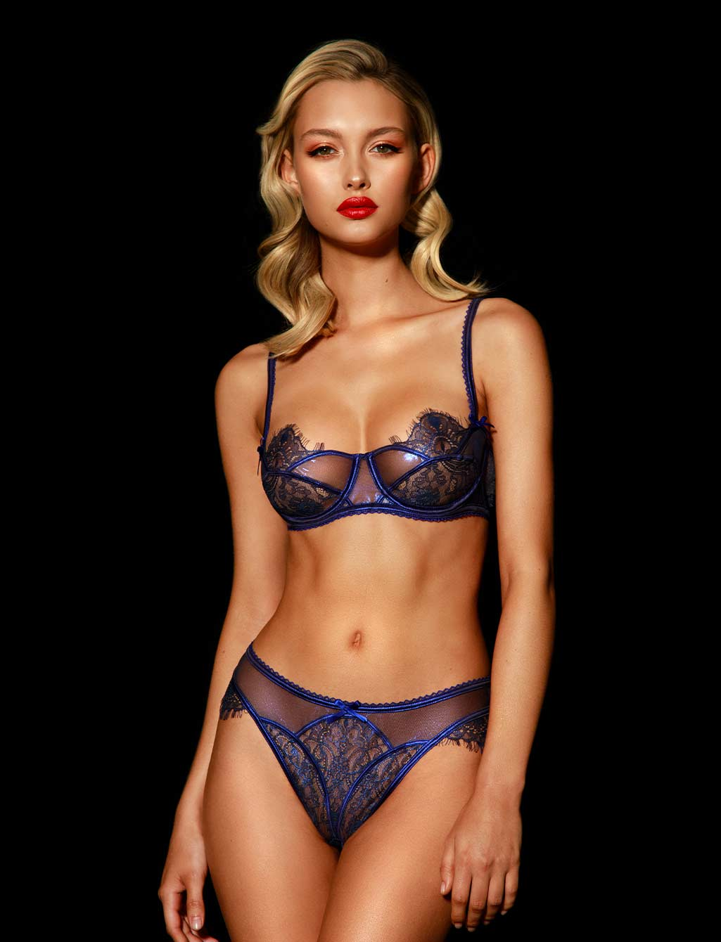 Roisin Regal Blue Lace Panty - Shop Lingerie | Honey Birdette
