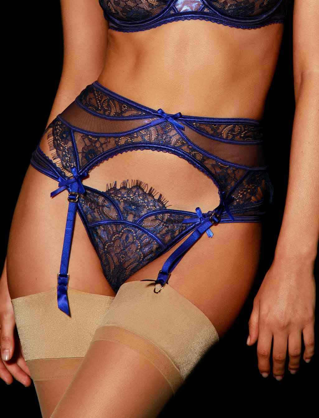 Roisin Regal Blue Lace Garter Belt - Shop Lingerie | Honey Birdette