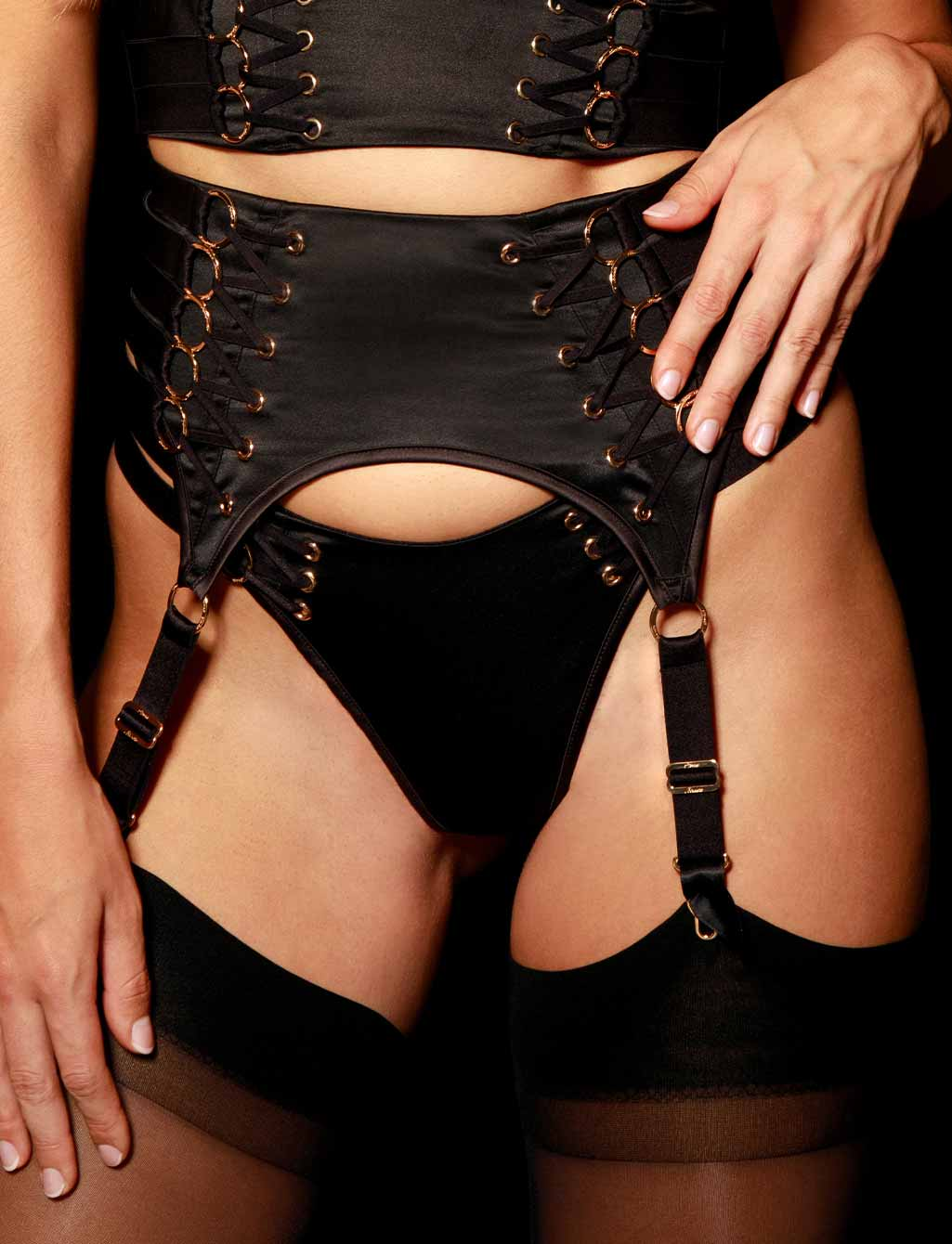 Stevie Black Garter Belt | Shop  Lingerie Honey Birdette