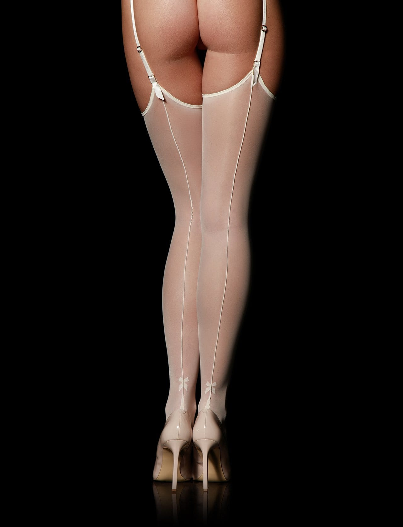 Ivory Bowties Thigh High Suspender Stockings