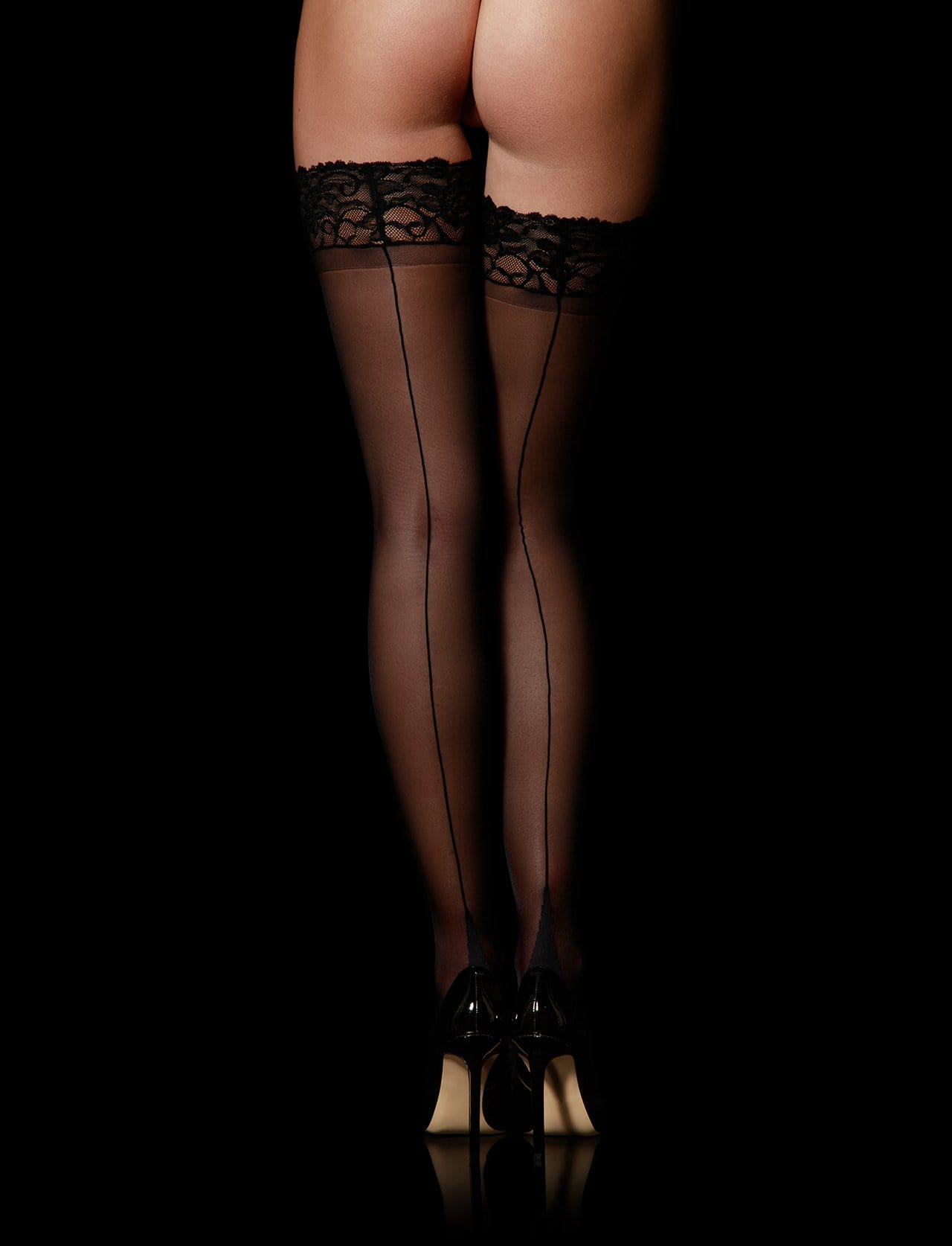 Lace Top Black Stay Up Stockings
