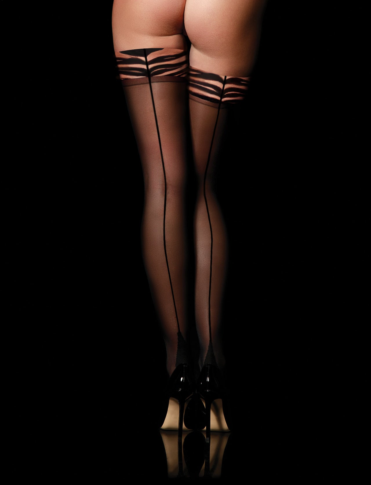 Black Betty Tiger Sheers Stay Up Stockings