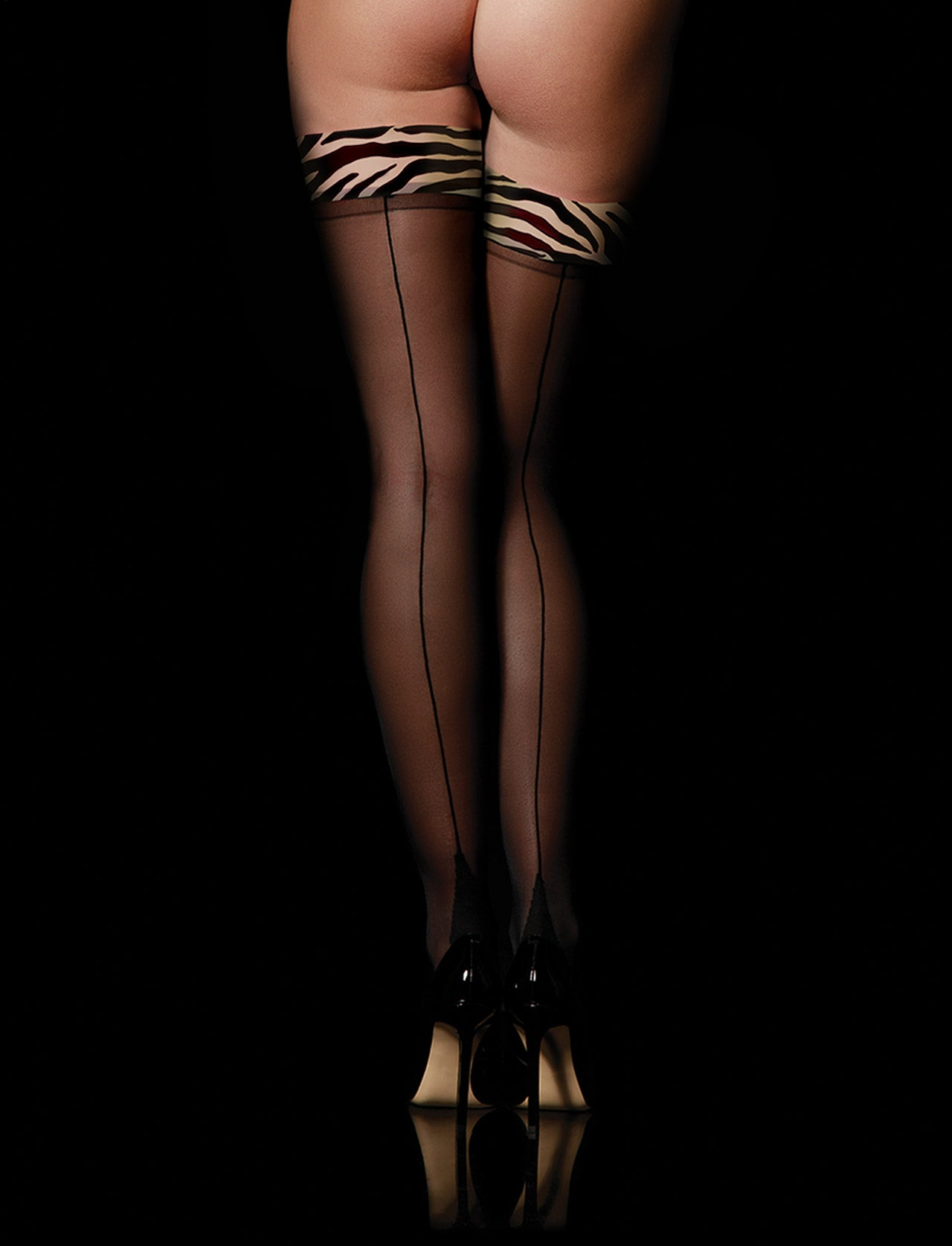 Zebra Print Sheers Thigh High Stay Up Stockings