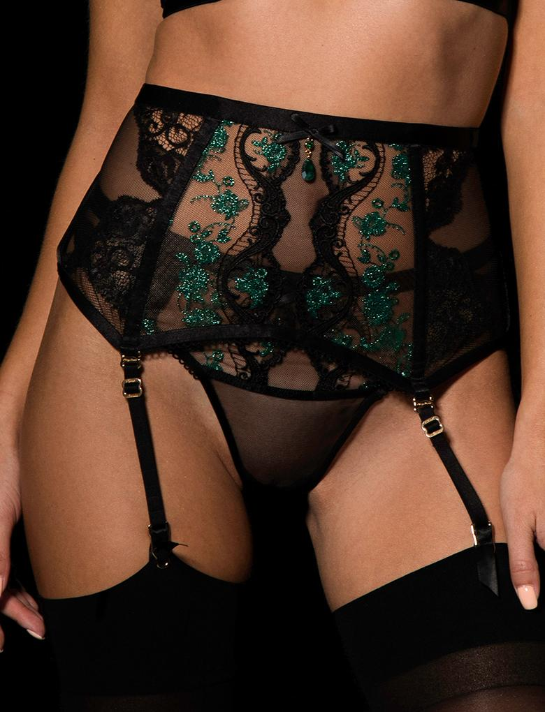 Ivy Emerald Suspender - Shop Lingerie | Honey Birdette