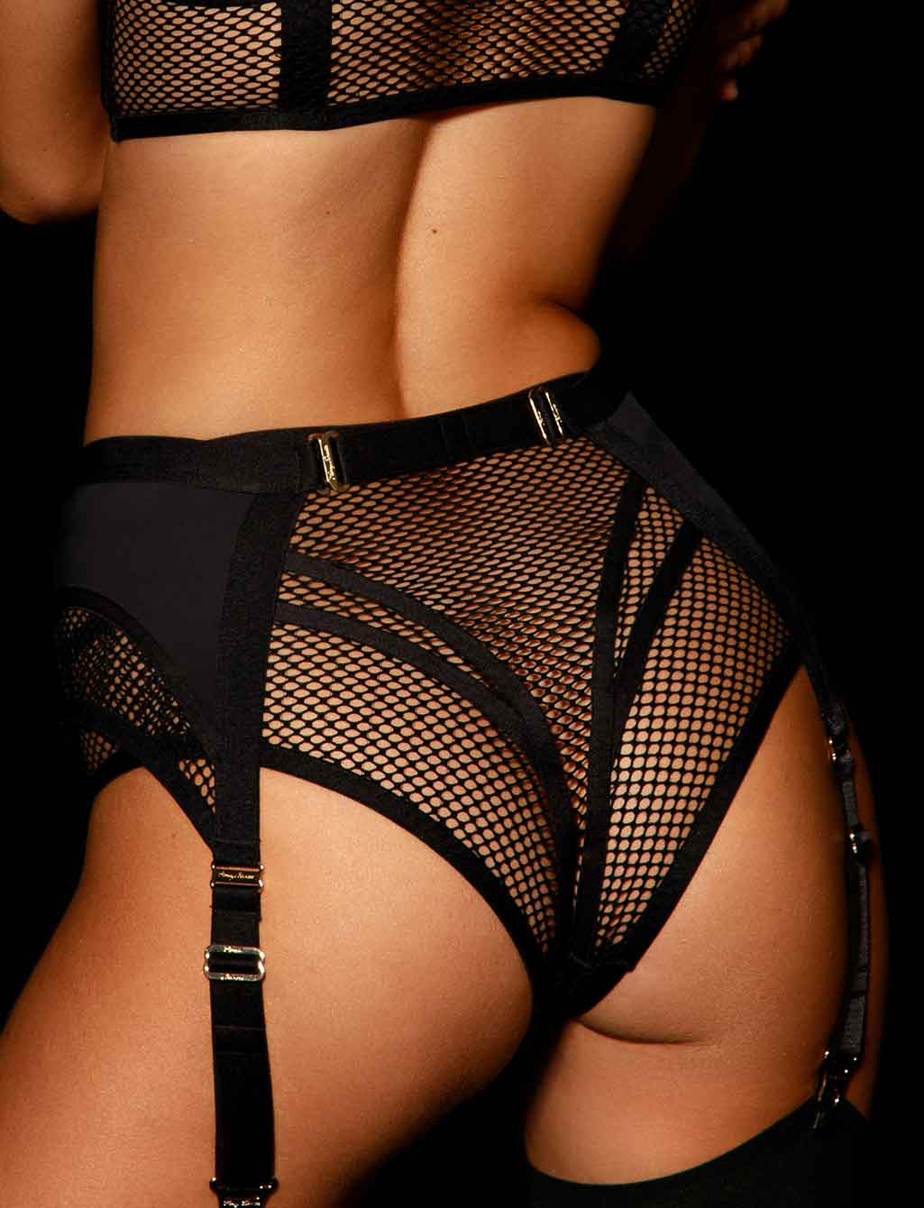 Tash Black Garter Belt - Shop Lingerie | Honey Birdette
