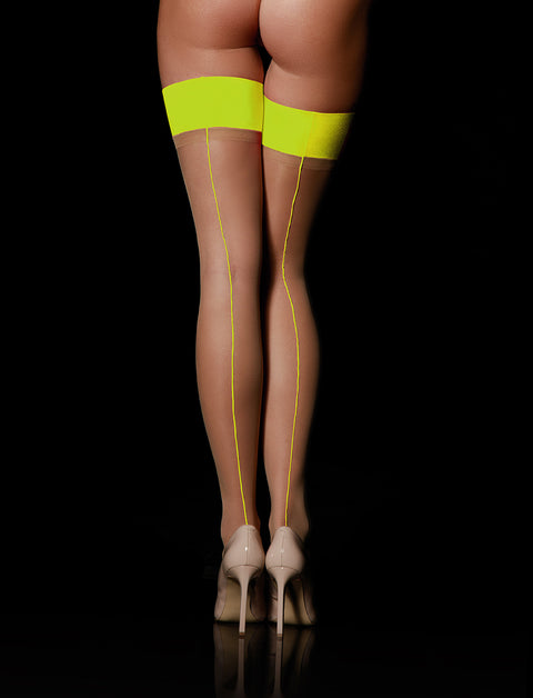 Neon Yellow Sheers Stay Up Stockings