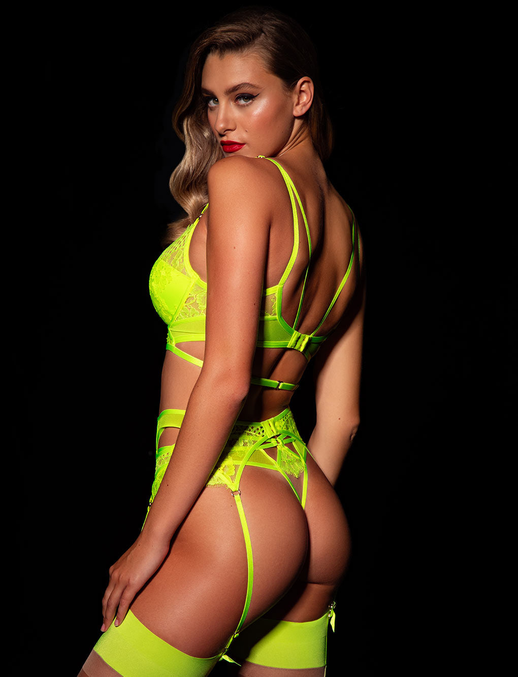 Vanessa Neon Yellow Garter Belt
