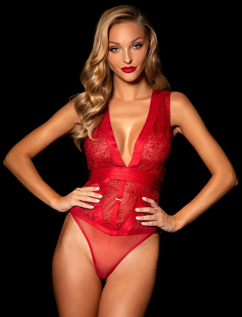 Belinda Red Lace Bodysuit - Shop Lingerie | Honey Birdette