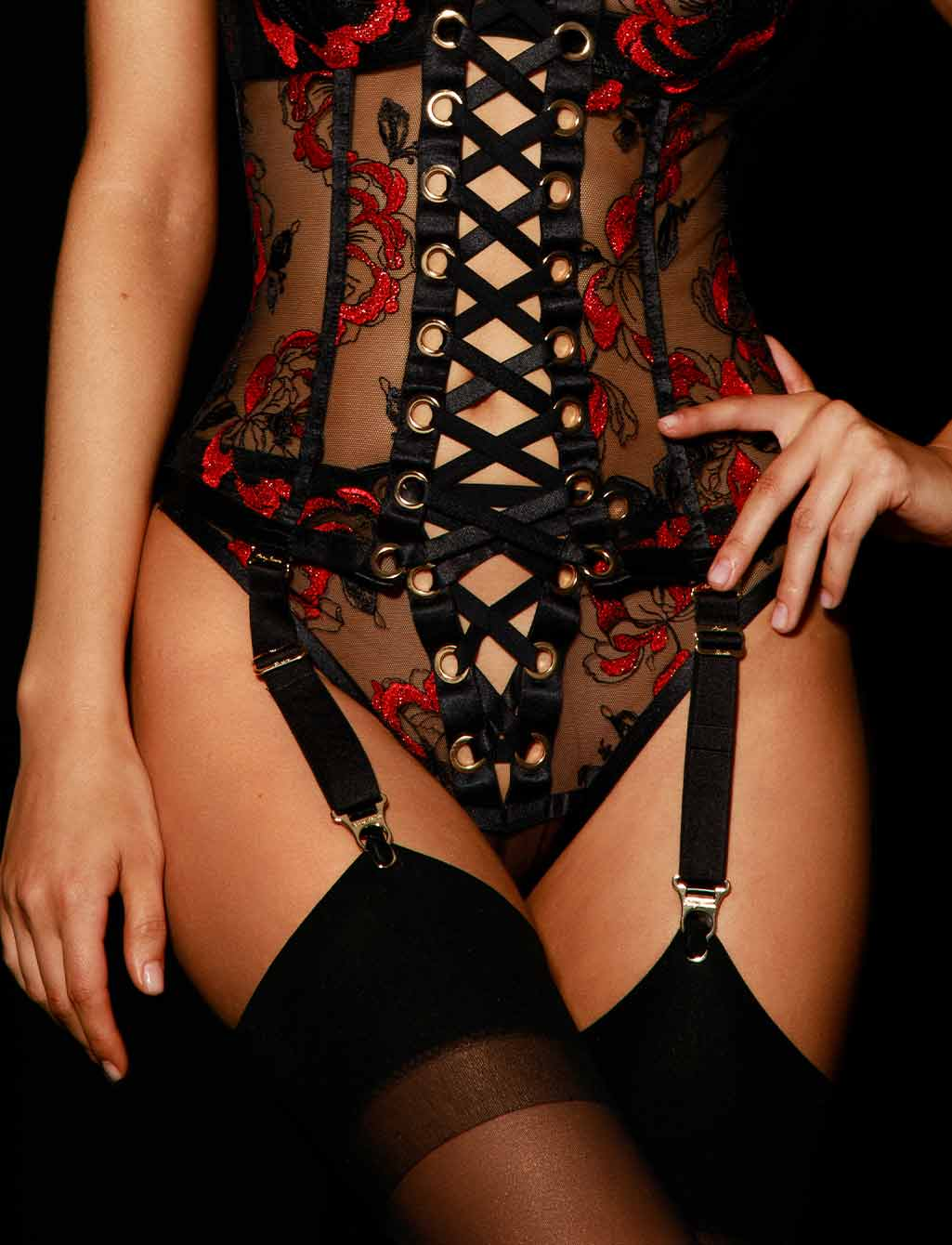 Freyah Black & Red Lace Sexy Lingerie Set - Shop  Lingerie | Honey Birdette