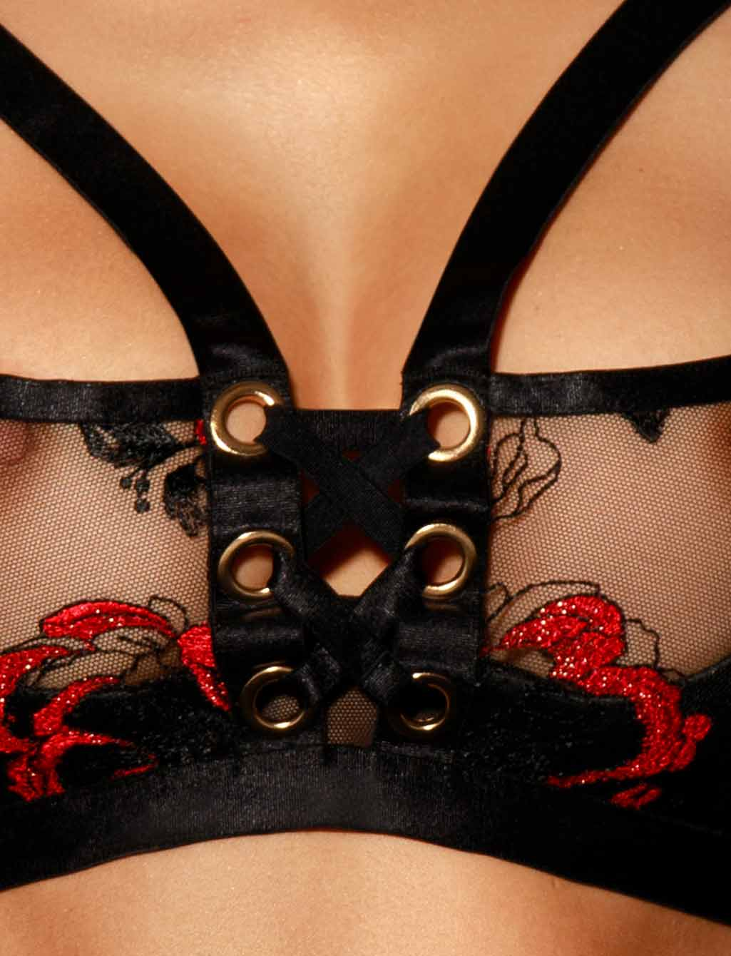 Freyah Lace Black & Red Underwire Bra