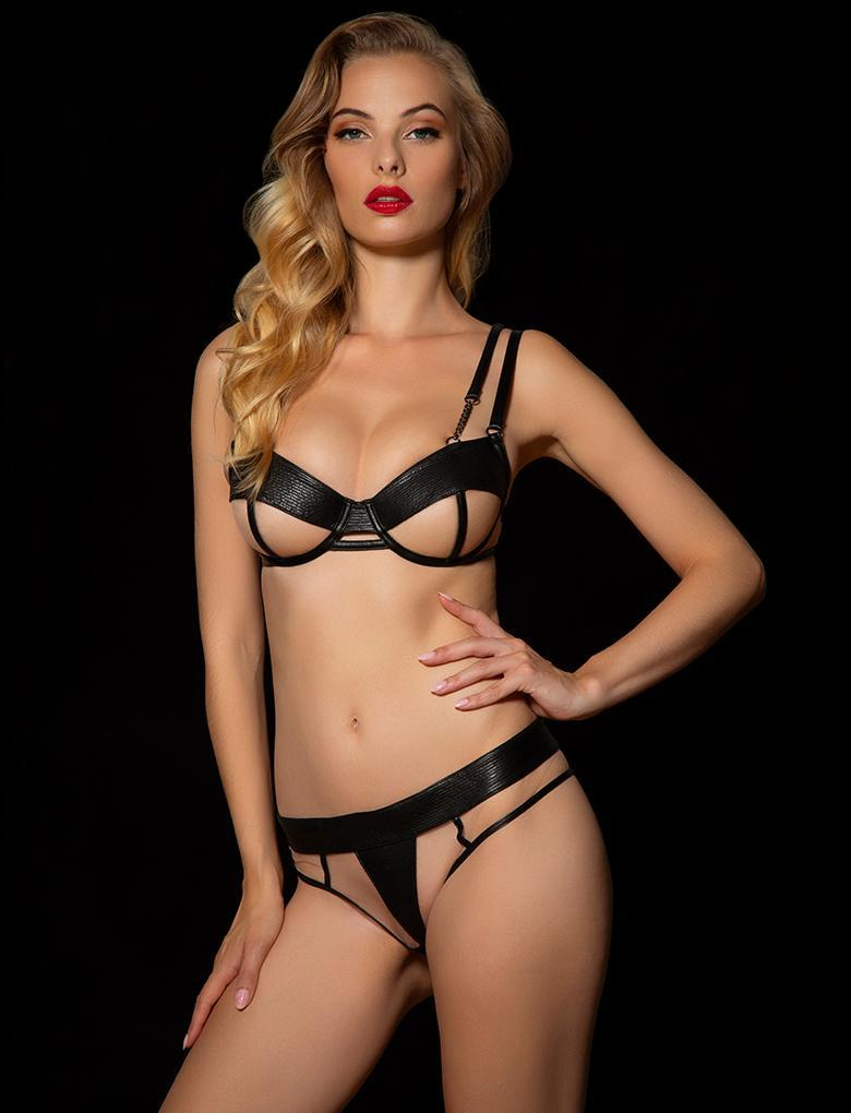Cassandra Black Thong - Shop Lingerie | Honey Birdette