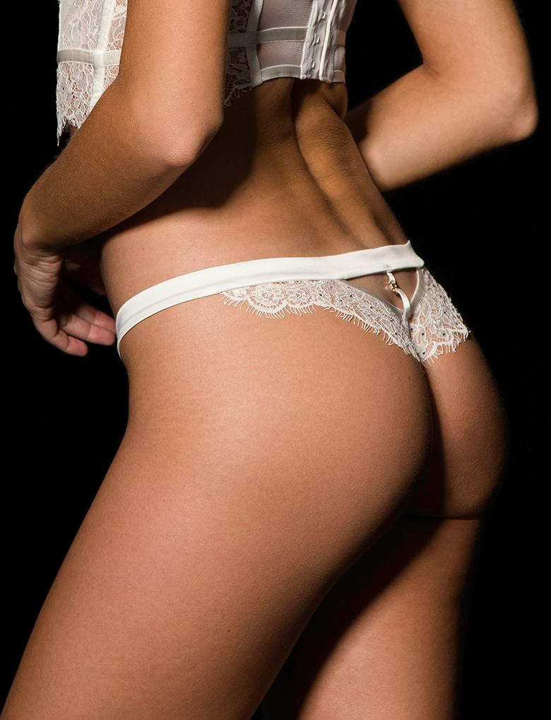 Maria Ivory Lace Thong