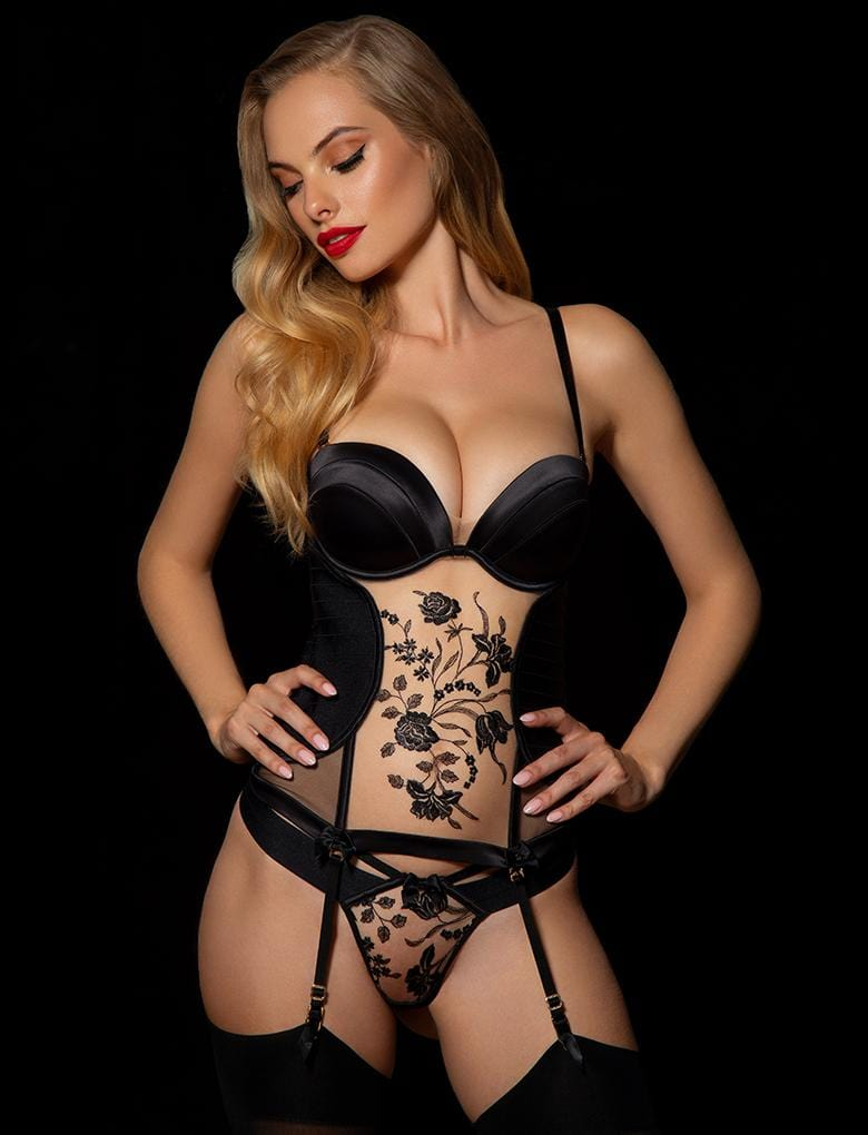 Sara Black Bustier - Shop Lingerie | Honey Birdette
