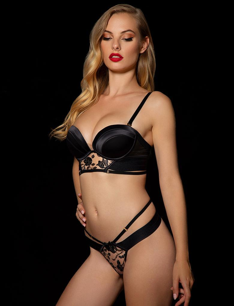 Sara Black Thong - Shop Lingerie | Honey Birdette