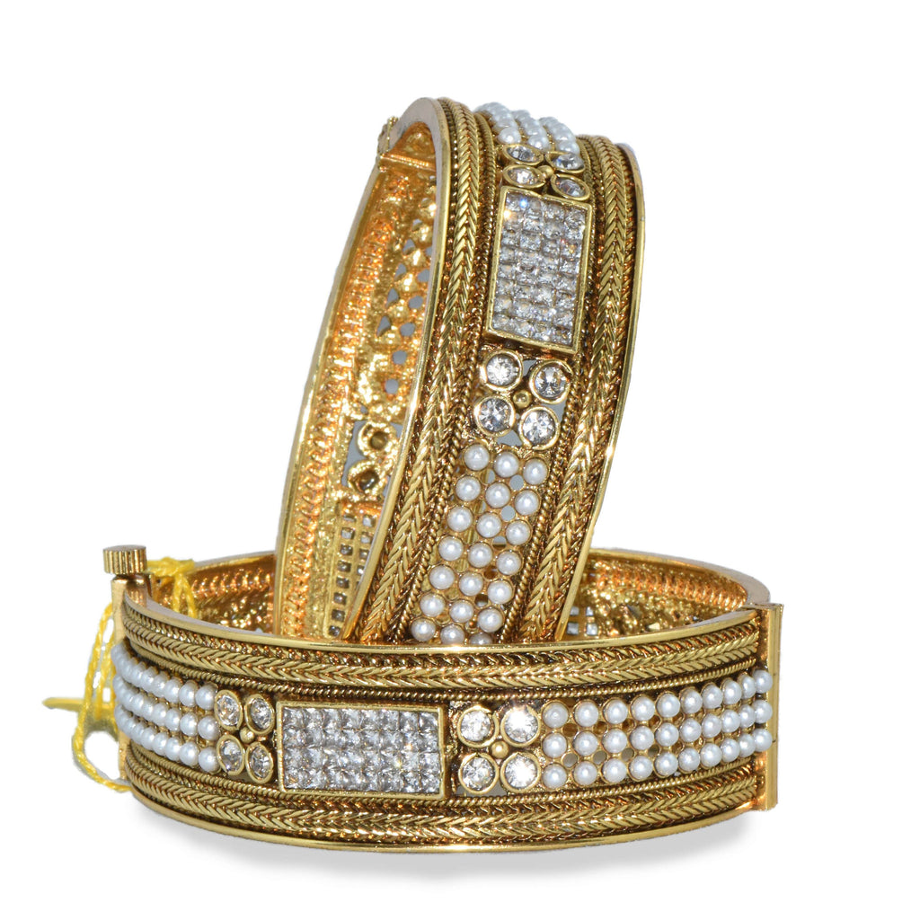 Pearl & Stone Studded Bangle Set
